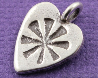 Fine Silver (.999) Thai Hill Tribe Handmade Heart w/ Floral Pattern Charm / Pendant, Detailed Pattern, Lightly Oxidized, 1 Piece (HT9089)