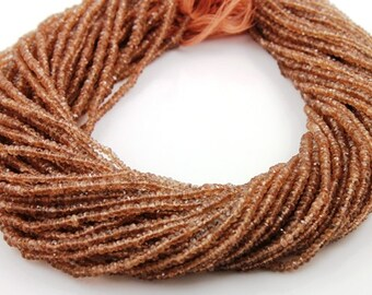 Natural Brazilian AAA Quality Andalusite Gemstone , Micro Faceted Rondelle,Stunning  Rose Brown Color 2.5 - 3.5mm,1 Strand, (ANDMICRNDL)