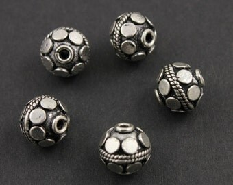 Bali Sterling Silver Fancy Round Bead, Beautiful Detailed Pattern, 9mm Antique Oxidized Finish, 1 Piece (BA-5098)