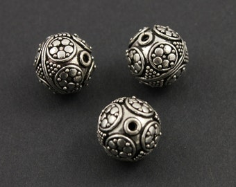 Bali Sterling Silver Bead w/ Granulation, Rope Detail, Oxidized Finish, 13mm Lovely Accent for Beaded Jewelry,  1 Piece (BA-5109)