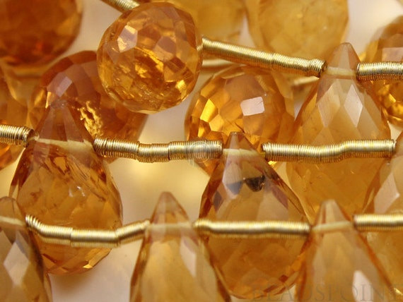Natural '' NO TREATMENT'' Warm Honey Yellow Citrine Micro Faceted Tear Drops, AAA Quality Gemstones 5x7 to 6x8mm, 1 Strand (CIT5x7-6x8TEAR)