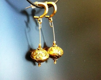 Big Brass Balls Dangle  Earrings