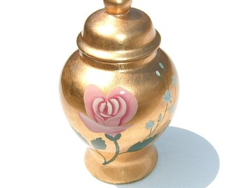 Rose and Baby Breath Hand Painted Gold Leaf Porcelain Vase with Lid