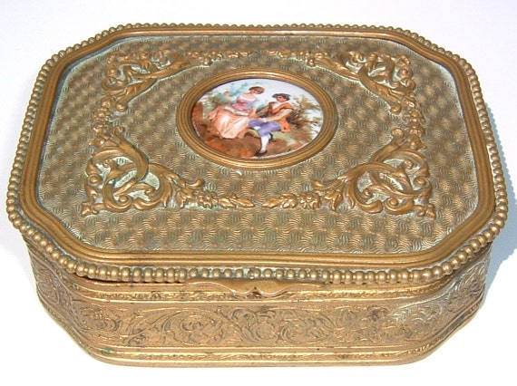 1800s FRENCH GILT Ornate Jewelry Trinket  Box with HandPainted Brightly Colored Romantic Scene on Porcelain