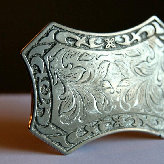 Vintage Silver Engraved Belt Buckle