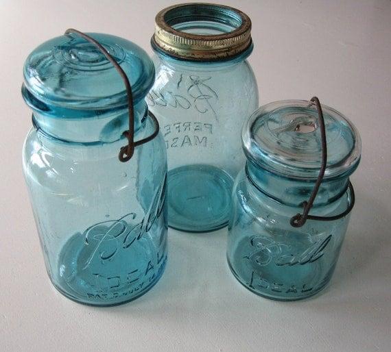Blue Ball Jars, Wedding Decor, set of 3 Jars, Wedding Tablesetting