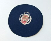 5 Hand Stamped Navy Seals with Embossed Lanterns: Circle Stickers