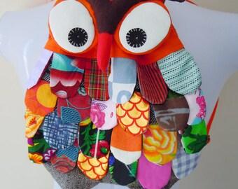 New Rare Handmade OWL Patchwork Backpack Bag 100% Cotton Orange
