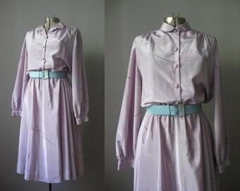 1950s Style Vintage Dress Lilac Purple Shirtwaist Dress Elastic Waist / Large