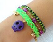 Halloween skull bracelet, set of 3, friendship bracelet purple jewelry neon green ghost braided bracelet best friend birthday present