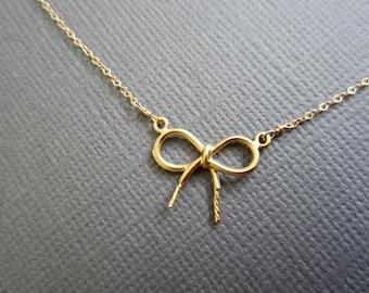 SALE - Dainty Gold Ribbon Necklace, Tiny Bow necklace, Gold Bow necklace, Dainty jewelry, everyday gold necklace.