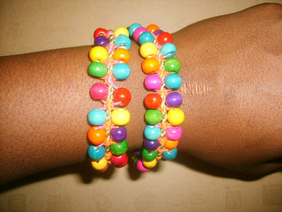 Multi-Colored Rainbow macrame bracelet/choker handmade beads from Cartagena-Colombia
