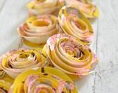 Garland Paper Flowers, yellow and pink Shower Garland Wedding Garland 4 Feet