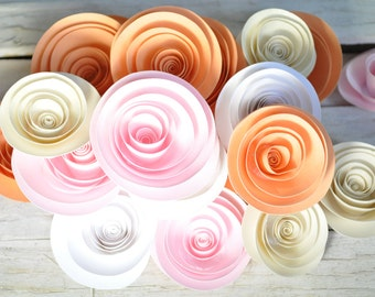 Peach Pink Cream Paper Flowers  Set of 25 Flowers