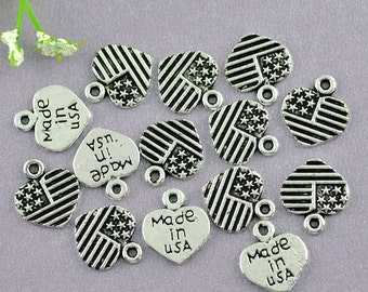 5 pieces Antique Silver American Flag Heart Charms