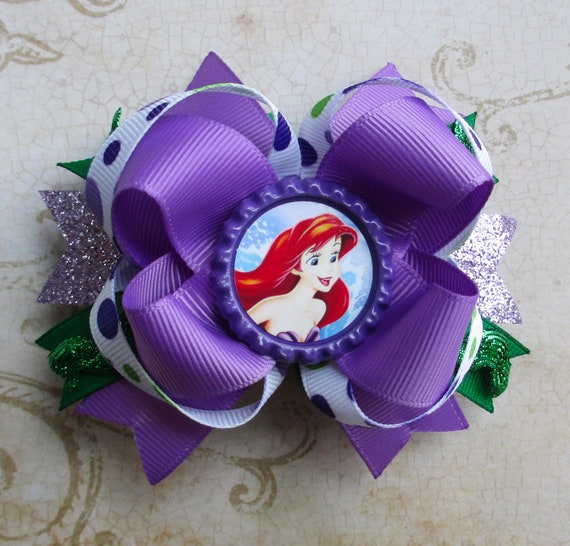 SALE Ariel Hair bow Little Mermaid hair bow Disney hair bow Over the top Boutique hair bow princesses hair clip christmas gift fall