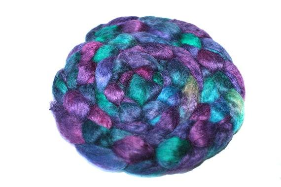 NEW Wensleydale Tussah Silk Fiber 50/50 Blend Hand Dyed Roving Spinning Felting Fiber Wool 104 gm 3,65 oz