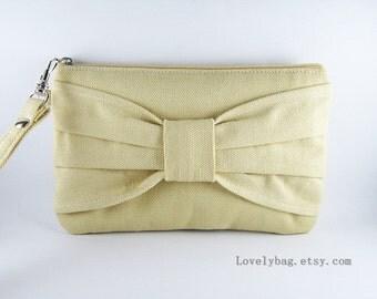 SUPER SALE - Cream Bow Clutch - Bridal Clutch, Bridesmaid Wristlet, Wedding Gift, Cosmetic Bag, Camera Bag, Zipper Pouch - Made To Order