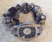 Bold and Unique Black and Silver Chunky Interchangeable Beaded Watch Band and Face