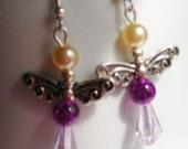 Purple Angel Drop Beaded Dangle Earrings