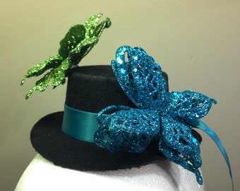 Glitter Butterfly Mini Top Hat In Peacock Blue And Green: Tea Party Fantasy Fairy Fascinator
