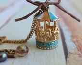 pastel carousel enamel charm pendent.   long necklace.