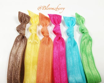New 6 pcs Elastic Hair Tie - Chocolate Brown, Yellow, Orange, Apple Green, Turquoise and Hot Pink - Toddler to Adult