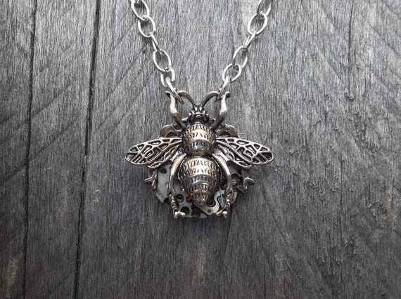 Clockpunk Steampunk Reversible Pendant Necklace, Stainless Steel Watch Movement & Antiqued Silver Bee on Silver Cable Link Chain