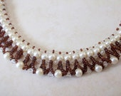 Brown and Cream collar Necklace,Party Jewelry, Wedding Jewelry