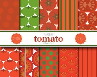 Tomato Digital Scrapbook Paper Red Green