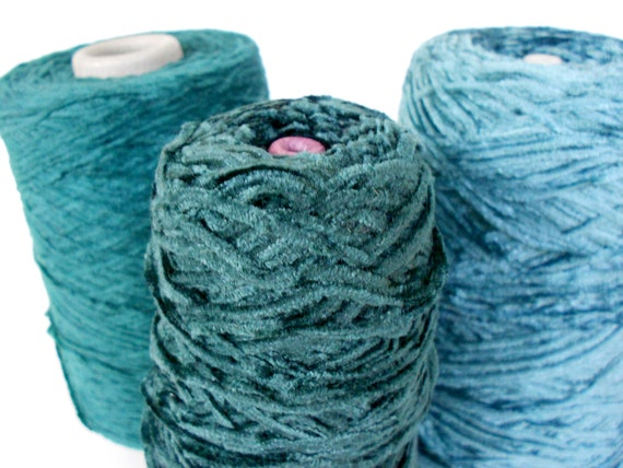 Chenille yarn cones in shades of spruce