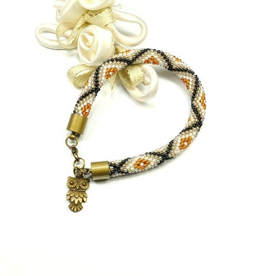 Bead Crochet Bracelet. Brown Bracelet. Beaded Bracelet. Rope Bracelet. Colored Bracelet. Toho Seed Beads Bracelet.