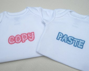 Copy and Paste Twin Bodysuit Set or T-shirt Set