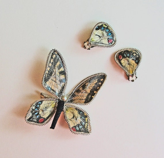 Vintage Butterfly Brooch and Earrings Set 1960s Germany Bug Pin Demi Parure Woodland Boho Fashion Gift