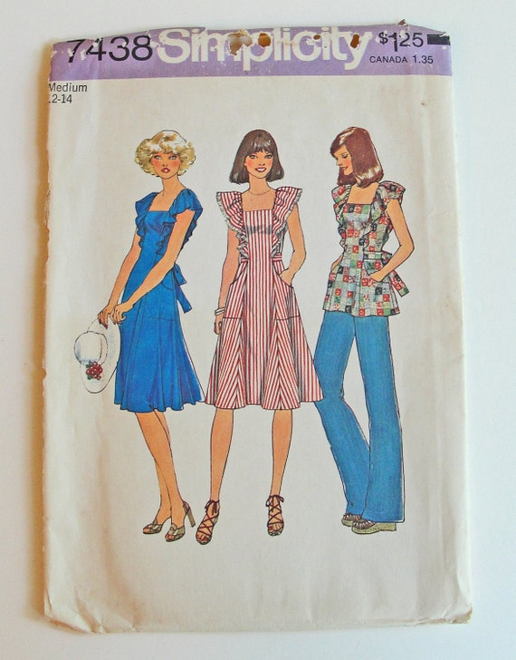 SALE 70s Ruffled Pinafore Dress or Top Size 12 to 14 - Simplicity Sewing Pattern - Vintage Retro Bohemian Fashion
