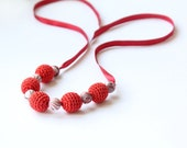 Christmas Red simple necklace - Handmade jewelry girlfriend, wife - designML