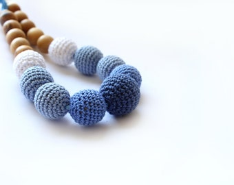 Blue Nursing/ teething necklace - Breastfeeding Necklace -  Sea Blue  Crochet Necklace for mom and child