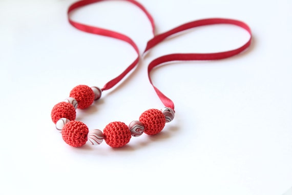 Red Simple Crochet Necklace - Handmade jewelry girlfriend, wife minimalist