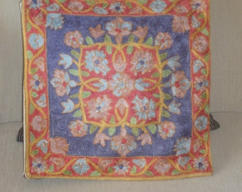 Silk Hand embroidered Kashmiri cushion cover
