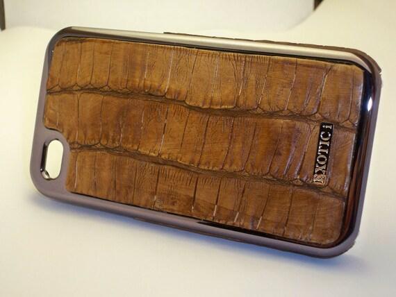 Leather Iphone 4/4s case Caiman Crocodile (Mocha)