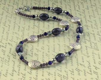 SALE Purple Silver Beaded Necklace Amethyst Plum Fashion Jewelry Glass Beads Discs Free Shipping Chunky Jewellery Holiday Gift
