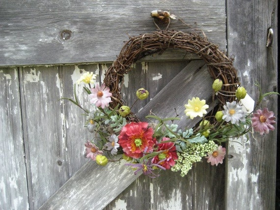 Rustic Grapevine Wreath with Floral Meadow Mix - Country Wreath - Wreath for Door - Wall Decor - Primitive Wreath - Meadow Florals Wreath