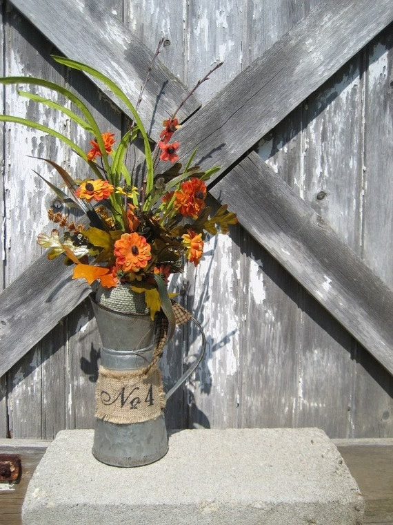 Sale rustic milkcan with mini mums fall decor autumn