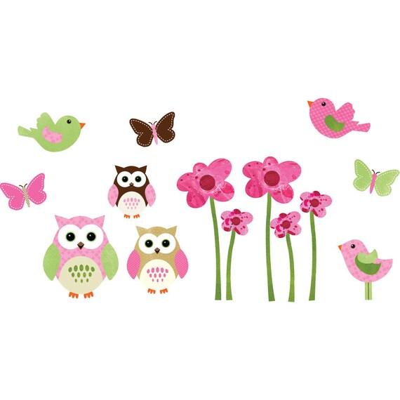 Owl Decal Set, Vinyl Wall Decal, Owl Wall art, Decal Flowers, Vinyl Wall Flowers, Pink Flowers, Vinyl Birds, Butterflies, Pink Owl Set