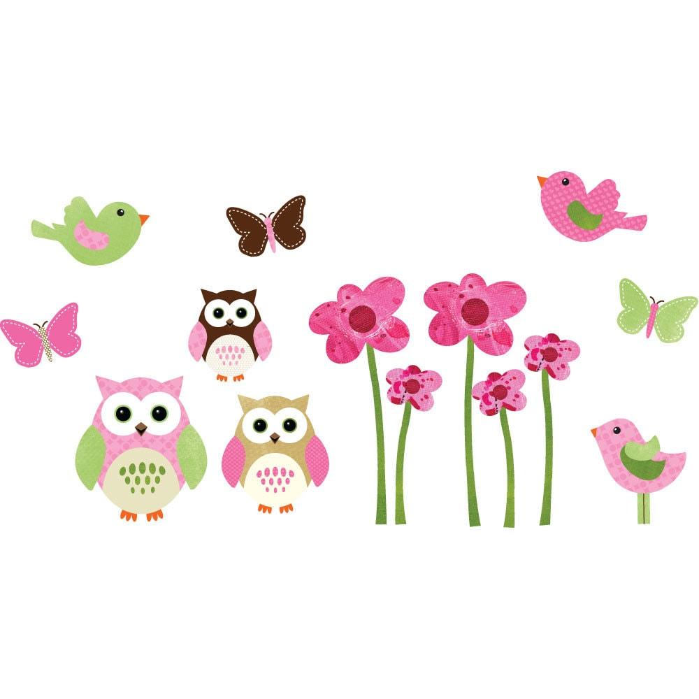 Owl Decal Set Vinyl Wall Decal Owl Wall Art Decal Flowers