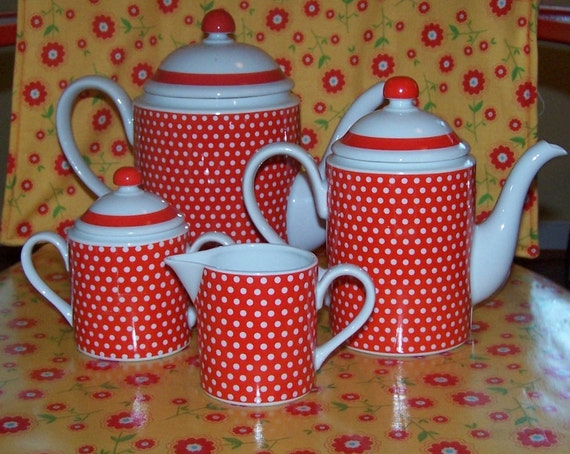 Adorable Red with White Polka Dots Full Size Tea Set