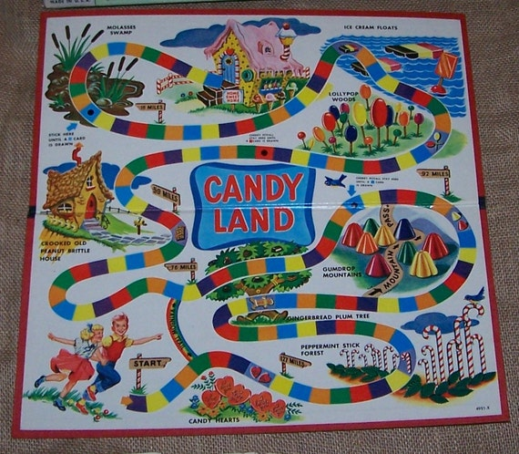 Complete 1955 Candyland Game Box , Cards and Game Pieces - RESERVED