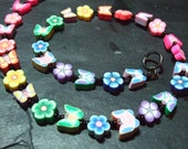 Butterfly Floral Collection: Rainbow Kitsch Polymer Clay Necklace 18 inch
