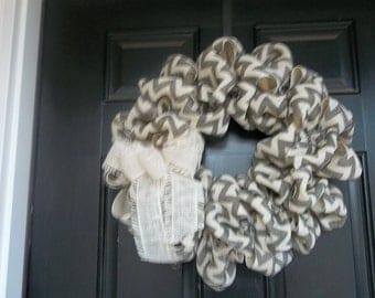 "18""  Gray Chevron Burlap Wreath, burlap door wreath, wall decor"