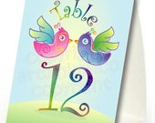Wedding table number tent card, love birds